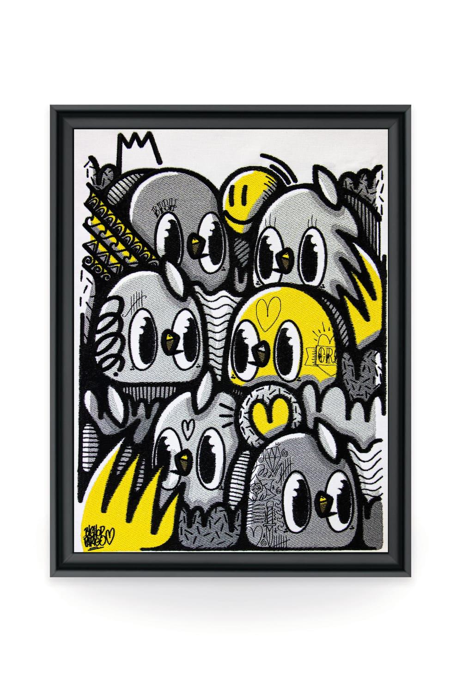 L'artiste Bishop, connu pour ses petits oiseaux et son univers insouciant, affirme son style en exploitant tous les supports. Sa collaboration avec la galerie textile Vangart est un moyen unique de témoigner son art sur une toile brodée signée par l'artiste.