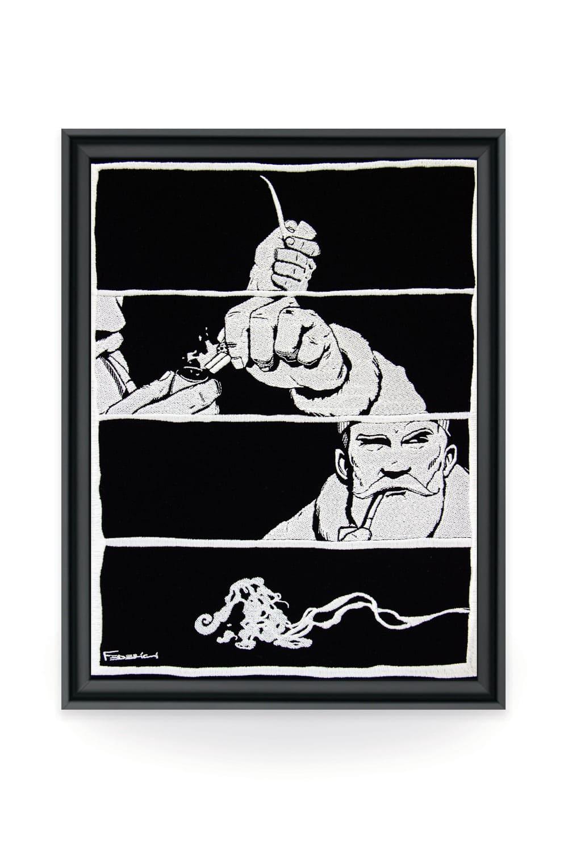 La broderie d'art de l'artiste Raphaël Federici, produite par l'atelier Vangart, offre un moyen d'expression unique pour cette artiste dont les oeuvres regorgent de codifications et de messages cachés