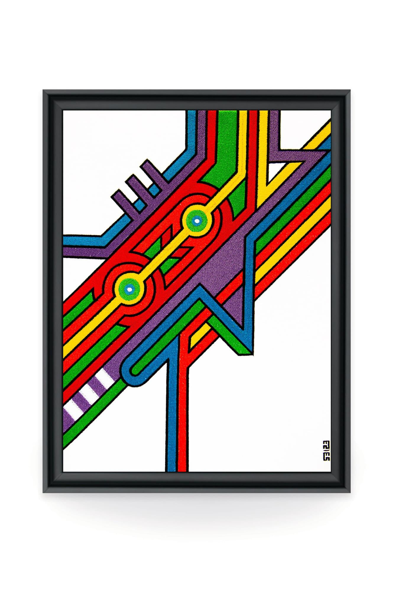 L'artiste street-art Seize nous partage son univers coloré et géométrique sur une toile brodée unique. Véritable oeuvre d'art, garantie par une certificat d'authenticité.