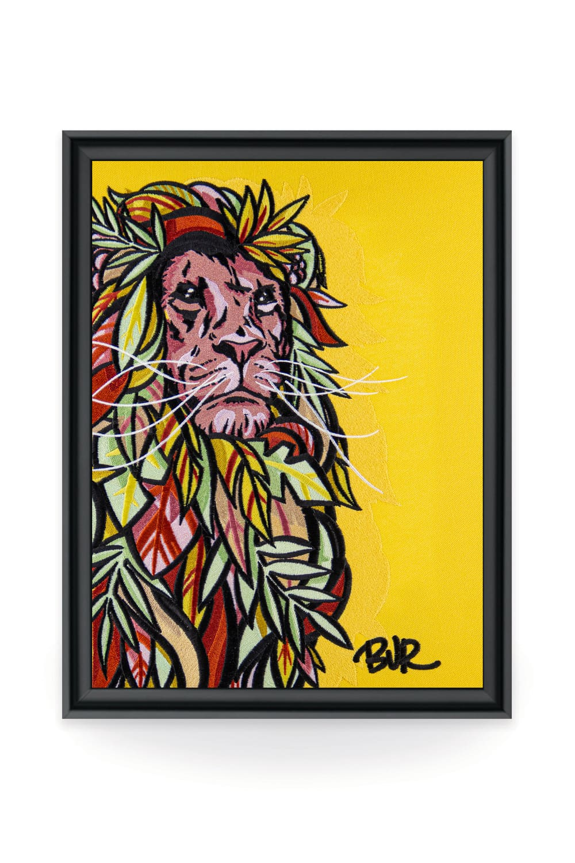 Artiste à l'univers coloré et détaillé, Bur s'inspire de son quotidien, de l'architecture, de la nature, de la société et de sa ville pour délivrer son art. Le lion étant l'un de ses éléments phares.