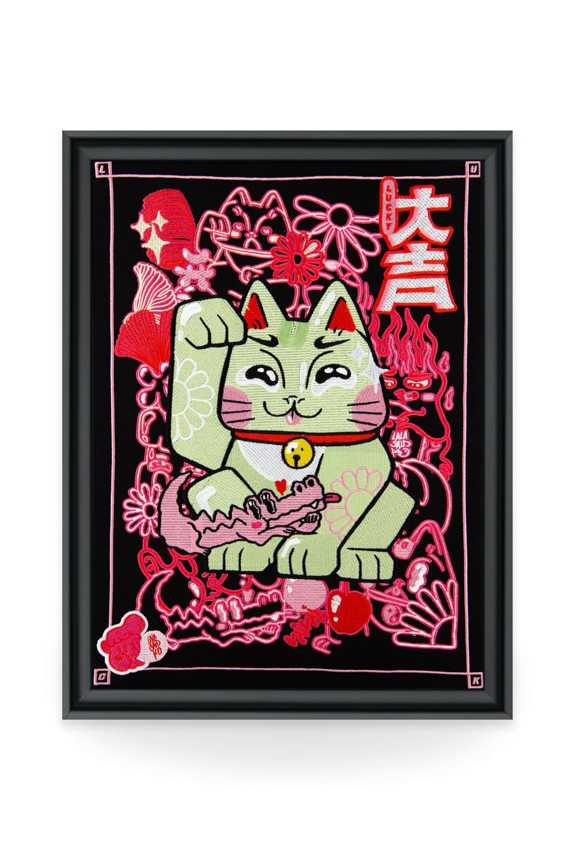 Broderie d'art du traditionnel chat japonais Maneki-neko de la bubble artiste Lalasaïdko.